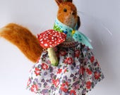 An Original Needle Felted Squirrel with Spun Cotton Toadstool