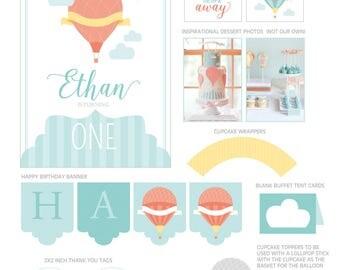 Hot Air Balloon Party Decorations, Hot Air Balloon Birthday Party Decor, Hot Air Balloon, Up and Away Birthday, Party Kit
