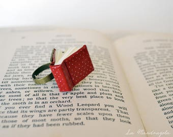 Tiny Red White Polka Dot Book Ring. Ring for Book Lover.Adjustable ring