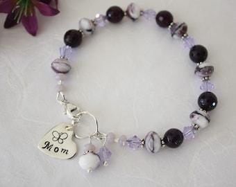 Personalized Mom Bracelet, Grandma Bracelet, Purple Bracelet, Amethyst Bracelet, Crystal, Mom Charm, Monogram Bracelet, Beaded Bracelet