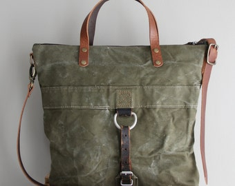 Vintage German Military Duffel Bag Tote Olive Green Antique One of a Kind