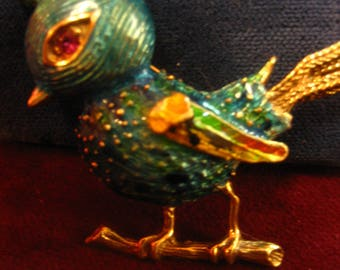 1950's,  blue bird pin