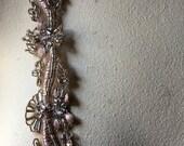 "ROSE Blush Beaded Trim 12"" for Lyrical Dance, Ballet, Bridal, Headbands, TR 271rbl"