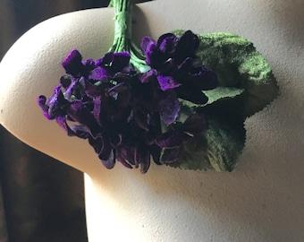 Dark Woods Purple Violet Velvet Millinery Violets for Bridal, Boutonnieres, Hats, Neo Victorian, Steampunk, Corsages MF