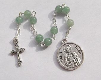 St. Jude Green Aventurine Chaplet Nine Bead