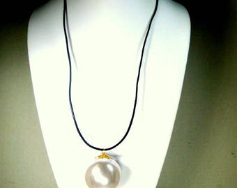 HUGE White Pearl Pendant on Black Leather Cord Necklace, OOAK by R STARR, Glam Minimalism