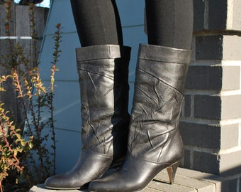 Vintage 80's Black Leather Boots Bruno Valenti