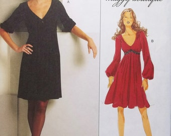 Misses' Empire Waist Knit Dress with Gathered Waist and Flared Skirt Sewing Pattern, Butterick B5242, Easy to Sew Suzi Chin Size 8 - 14