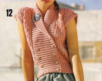 Downloadable Vintage Knitting Pattern - Double Breasted Waist Coat - PDF Pattern - retro 70s vest
