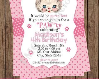 Pink Kitten Birthday Invitation, Custom Printed, Girl Kitten, Cute Kitten, Pawty - 1.00 each with envelope