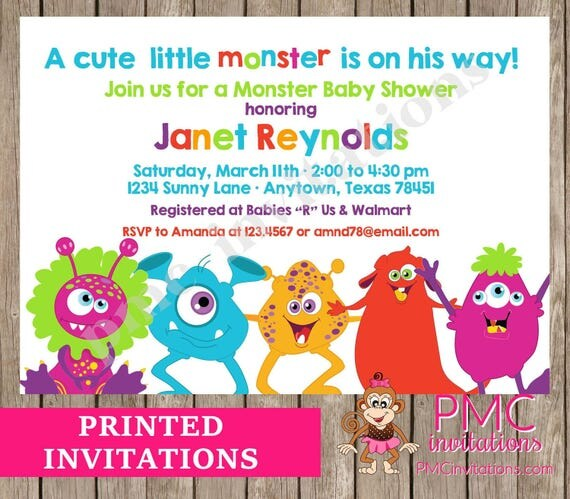 Custom Printed Silly Monster Baby Shower Invitations 1 00 Each