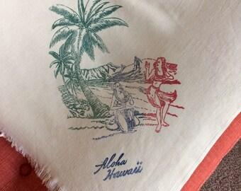 Vintage Hula Girl Hawaii Hawaiian Islands Tablecloth with Surfers, Palm Trees, Kauai, Maui, Oahu 40's 50's Fabric Table Linen