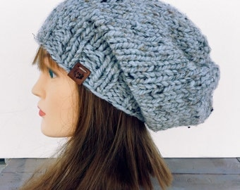 Womens Slouchy Beanie, Slouch Hat, Chunky Knit Beanie, Knit Slouchy, Hat Chunky Knit Hat, Winter Knit Beanie, Hand Knitted Beanie, Knit Hat