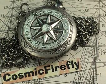Steampunk Compass Locket Compass Necklace Antiqued Silver Locket Round Locket Non-Working Vintage Inspired Jewelry Jewelry Unisex Locket