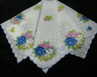 """Vintage UNUSED 1950's 13.5"""" Pink and Blue Scalloped  Floral Wedding, Bridesmaid Handkerchief or Doily, 9822"""