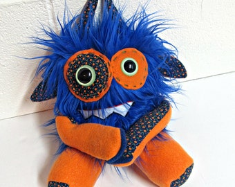 Plush Monster - Handmade Monster Plush - OOAK Stuffed Monster - Royal Blue Faux Fur Monster - Hand Embroidered - Weird Cute Plush Toy