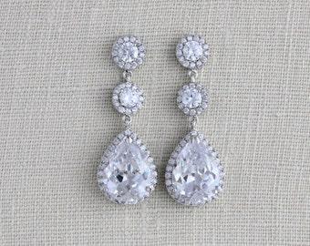 Bridal Earrings, Bridal jewelry, Rose gold earrings, Wedding earrings, Long Bridal earrings, Bridesmaid earrings, Teardrop crystal earrings