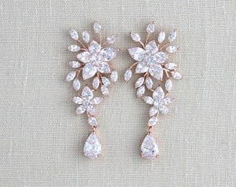 Rose gold earrings, Wedding earrings, Bridal earrings, Crystal earrings, Bridal jewelry, CZ earrings, Statement earrings, Bridesmaid, LILY