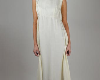 White Long Dress, Bridal Dress, Wedding Dress, Cotton Dress, Vintage Dress, 60s Dress, 1960s Dress, Formal Dress, Beaded Dress, Designer
