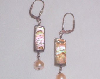 Handmade Abalone and Freshwater Pearl Earrings with Sterling Earwires