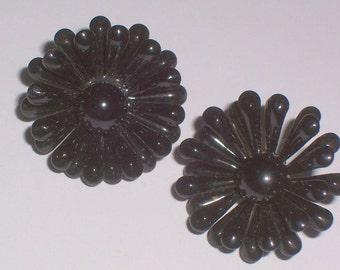 Vintage Black Flower Earrings - Clip Ons