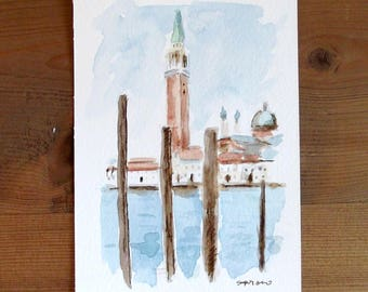 watercolor painting postcard Venice landscape Hand painted not a print