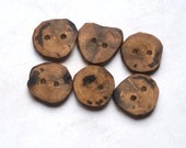 Rustic Wood Buttons, Natural Wood Buttons, Handmade Persimmon Tree Branch Wood Buttons, 7/8 Inch (22 mm), Set of Six
