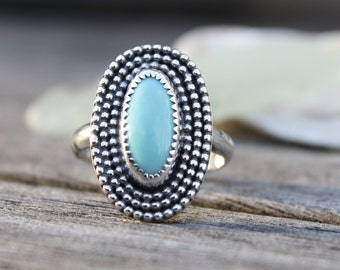 Turquoise and Sterling Silver Ring, Handmade Turquoise Ring, Southwestern Style, Gemstone Ring