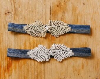 Crystal wedding garter, navy blue garter set, bridal lace garter, lingerie garter - style 533