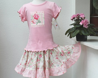Pink Rose Girl's Outfit Handmade Summer Girl Clothes Ruffled Twirl Skirt Tiered Girl Skirt & Top Set 2T 3T 4T 5 6 7 8 10 12 14 Preteen Gift
