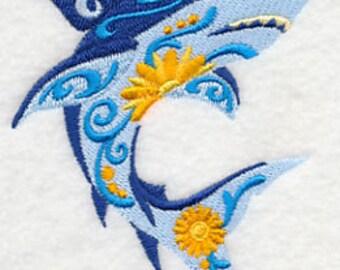 Embroidered Fish Towel - Flower Power Shark - Flour Sack Towel-Embroidered Hand Towel -Embroidered Bath Towel -Apron - Fingertip Towel