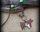 Rustic Metal Show Hog, Pig Pendnat on Long Boho Style Necklace Approx 28""