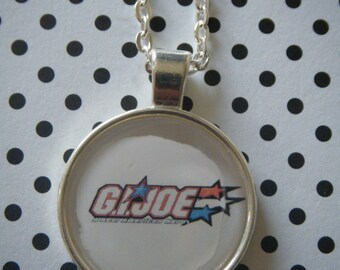 G.I. Joe logo retro cartoon round silver pendant necklace
