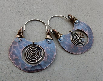 Pachamama Hoop Earrings, Mixed Metal, Light Weight, Goddess Jewelry, Earthy, Ethnic, Hip, Ancient Relic Look