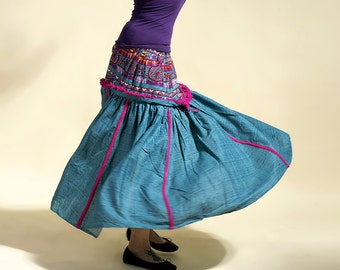 Skirt Bohemian, skirt blue, boho skirt, long skirt, hippy skirt
