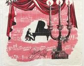 Vintage Dish Towel Liberace Piano Player Candelabra  Novelty Textile Kitchen Decor