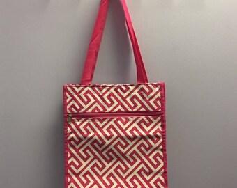 Personalized Hot Pink Greek Key Square Tote Bag