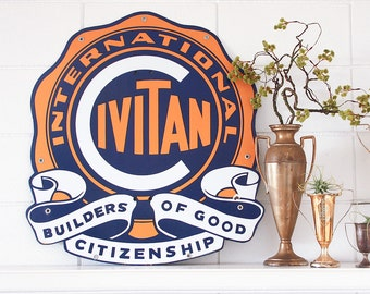 Vintage International Civitan Porcelain Sign / Industrial Decor