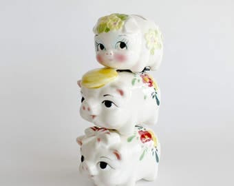 Vintage Piggy Bank Set Pig Family Kitsch Ceramic Figurines Home Farmhouse Decor Mid Century Japan