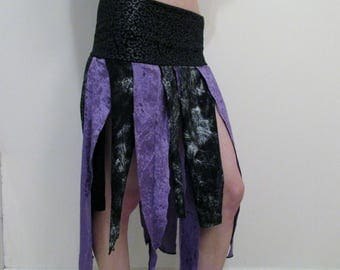 Purple Black Tattered Skirt DIY Pixie Goth Apocalyptic Festival Clothes 2