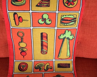 Vintage Hors D' Oeuvres Dish Cloth Kitchen Towel with Food, Snacks and Vegetables Modern 60's Retro 70's Linen Fabric