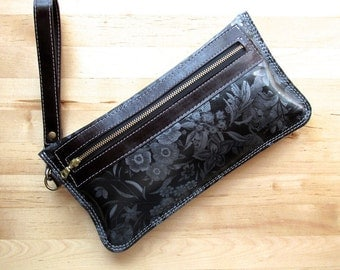 Charcoal Grey leather clutch, floral bag, zipper pouch, travel accessory, toiletry bag, Iphone case, large leather wristlet, everyday purse
