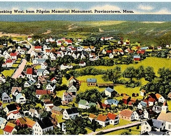 Vintage Cape Cod Postcard - The West End of Provincetown from Pilgrim Monument (Unused)