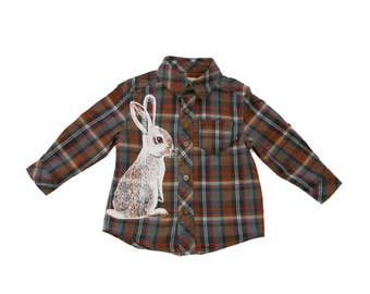 Cottontail bunny brown plaid shirt - toddler 24 months - 2T - upcycled OshKosh cotton plaid with eco-friendly screenprint