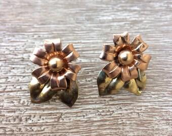 Vintage Silver Flower Earrings Sterling Silver Earrings Screw Back Two Tone