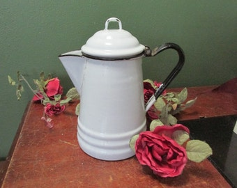 Enamel Coffee Pot Black and White Small 6 Cups Display Only