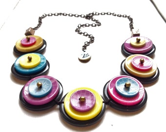 ON SALE - Rainbow in your heart . Handmade Buttons Necklace