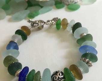 Sea Glass Bracelet - Genuine English Seaglass & Sterling Silver - Leaf Charm and Toggle Clasp - SPRING GARDEN