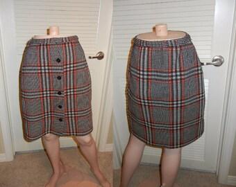 1960s plaid skirt   black and orange plaid mini skirt