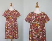 Vintage 60s Cotton Dress with Gorgeous Mid Century Print - Vintage Mod Flower House Dress - Vintage 1960s Caftan S M L